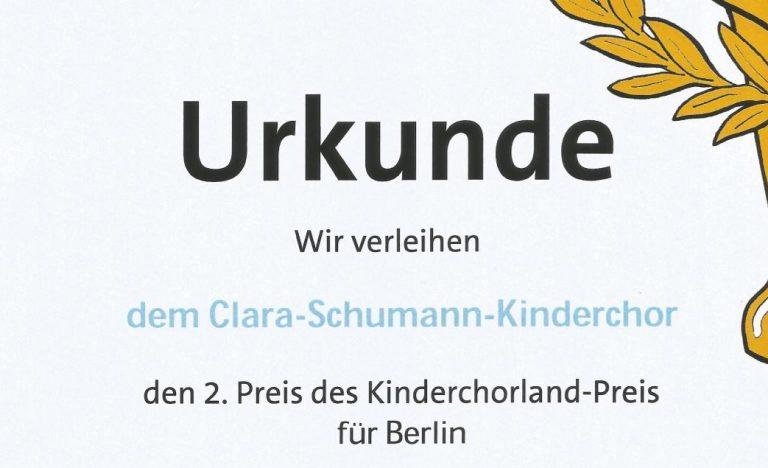 Kinderchorlandpreis gewonnen